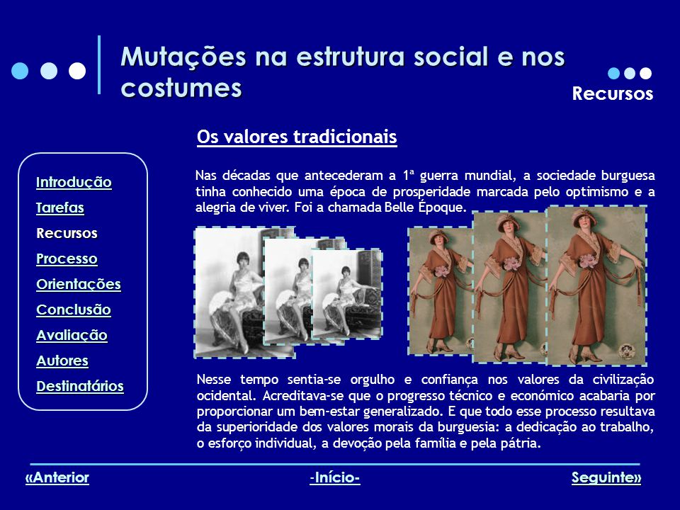 Mutações na estrutura social e nos costumes