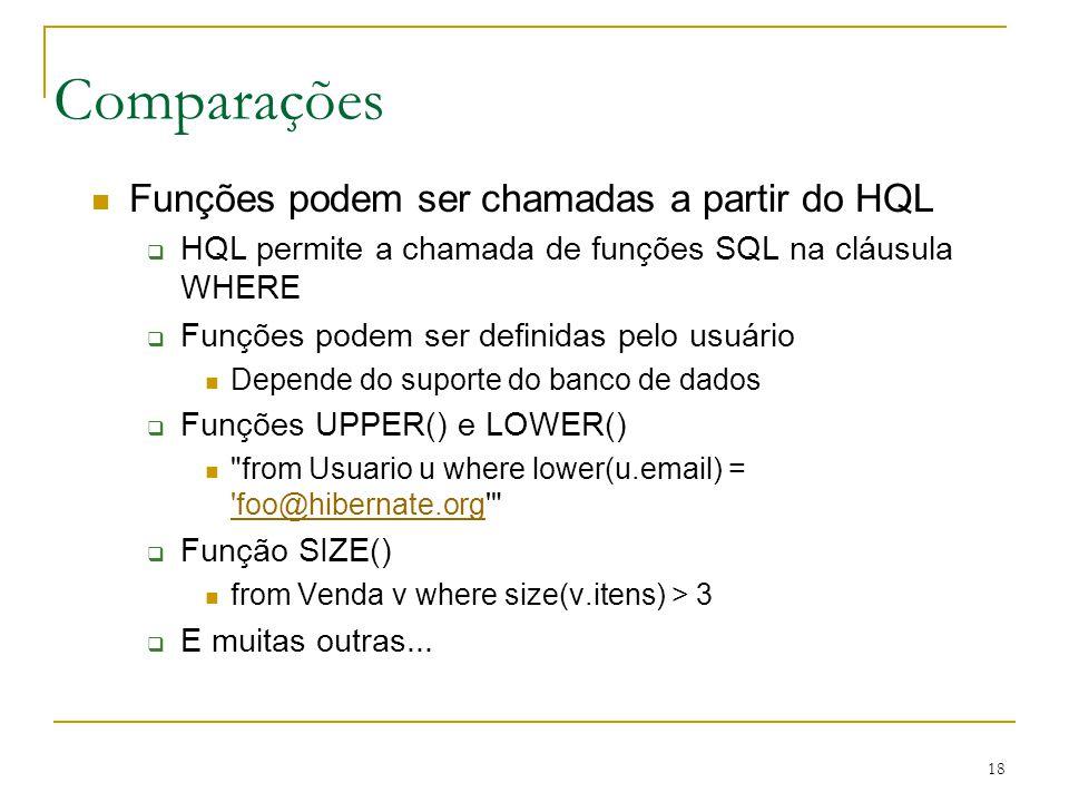 Comparações Funções podem ser chamadas a partir do HQL