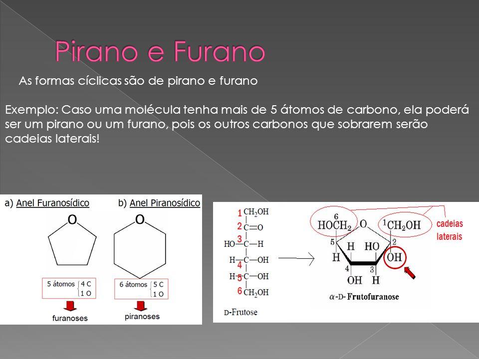 Pirano e Furano As formas cíclicas são de pirano e furano