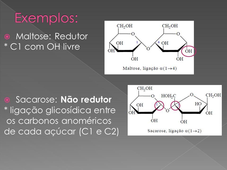 Exemplos: Maltose: Redutor * C1 com OH livre Sacarose: Não redutor