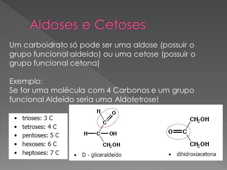 Aldoses e Cetoses Um carboidrato só pode ser uma aldose (possuir o grupo funcional aldeído) ou uma cetose (possuir o grupo funcional cetona)