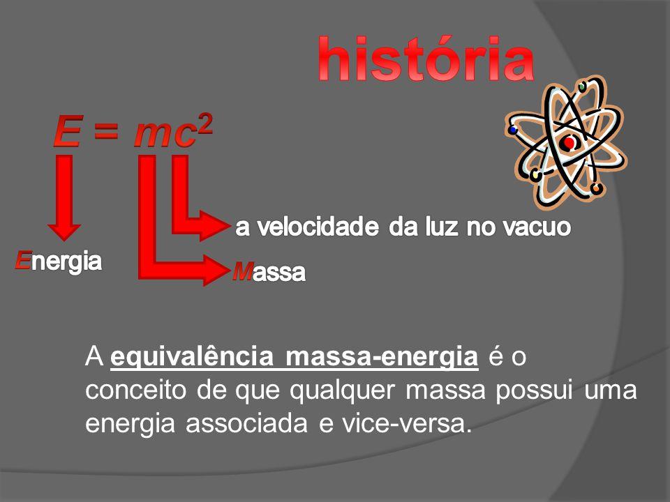 história E = mc2 A equivalência massa-energia é o