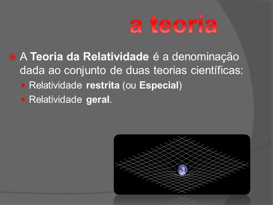 a teoria A Teoria da Relatividade é a denominação dada ao conjunto de duas teorias científicas: Relatividade restrita (ou Especial)