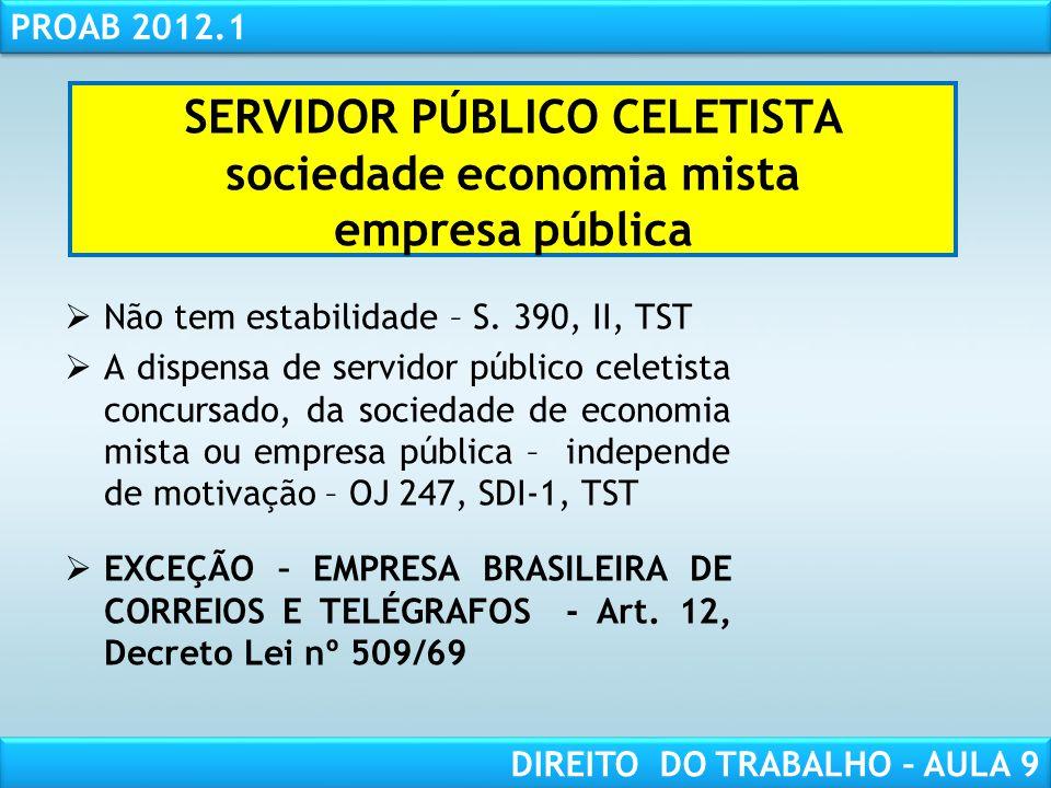 SERVIDOR PÚBLICO CELETISTA sociedade economia mista empresa pública