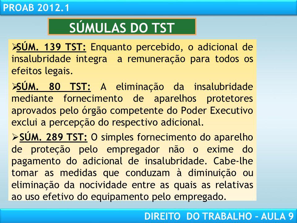 SÚMULAS DO TST SÚM. 139 TST: Enquanto percebido, o adicional de insalubridade integra a remuneração para todos os efeitos legais.