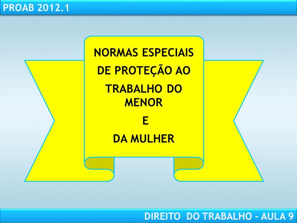 NORMAS ESPECIAIS DE PROTEÇÃO AO TRABALHO DO MENOR E DA MULHER