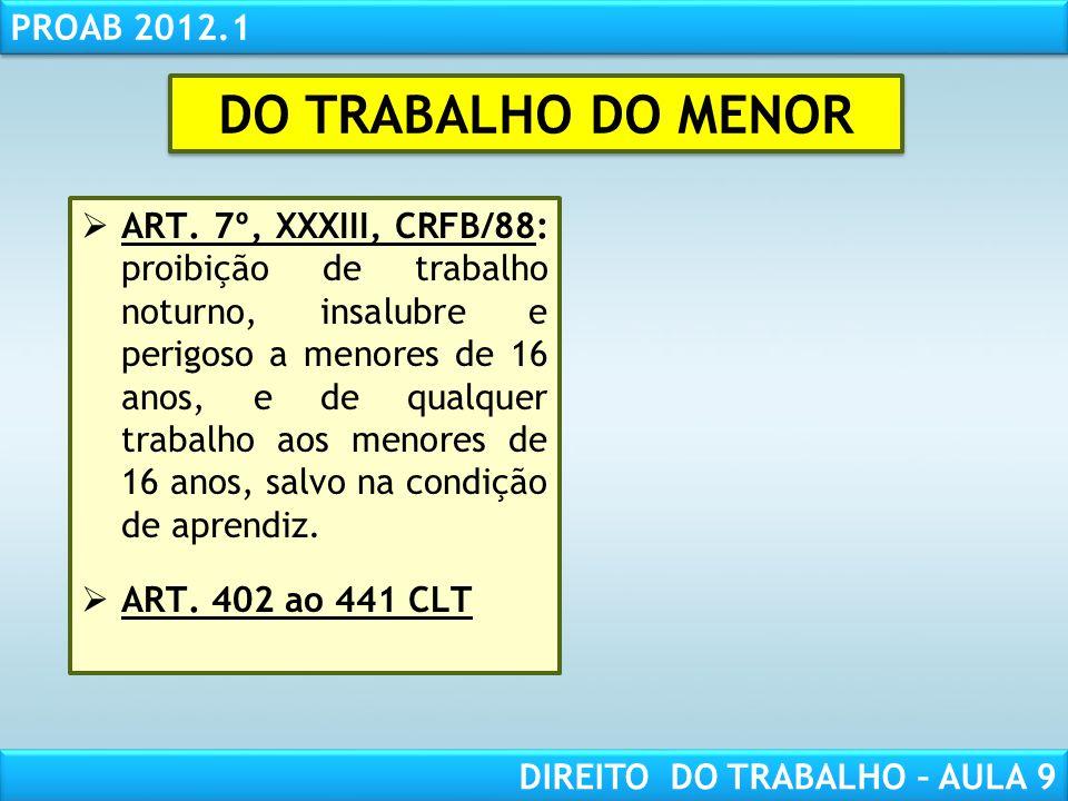 DO TRABALHO DO MENOR
