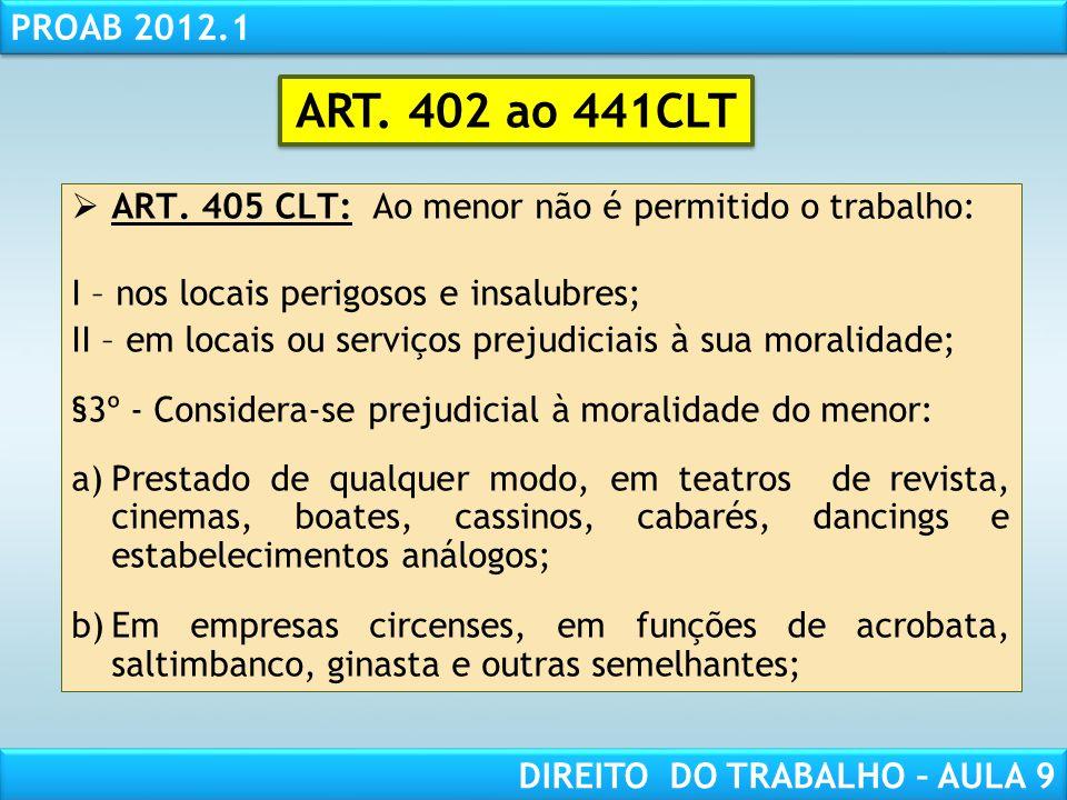 ART. 402 ao 441CLT ART. 405 CLT: Ao menor não é permitido o trabalho: