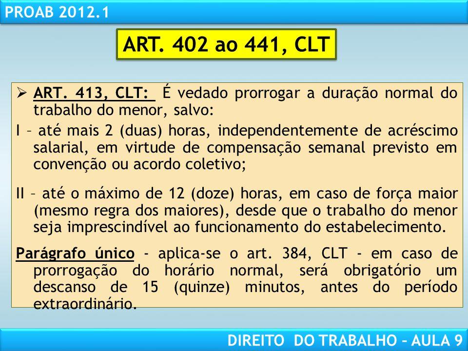 ART. 402 ao 441, CLT ART. 413, CLT: É vedado prorrogar a duração normal do trabalho do menor, salvo: