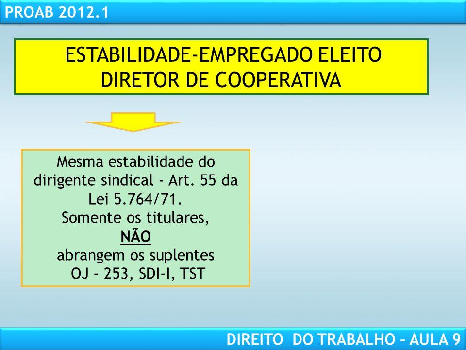 ESTABILIDADE-EMPREGADO ELEITO DIRETOR DE COOPERATIVA