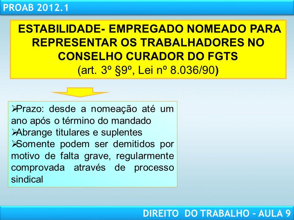 ESTABILIDADE- EMPREGADO NOMEADO PARA REPRESENTAR OS TRABALHADORES NO CONSELHO CURADOR DO FGTS