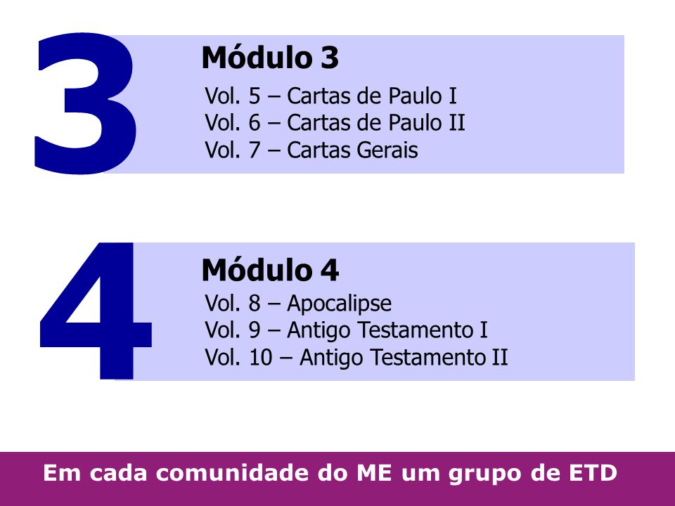 3 Módulo 3. Vol. 5 – Cartas de Paulo I Vol. 6 – Cartas de Paulo II Vol. 7 – Cartas Gerais. 4. Módulo 4.