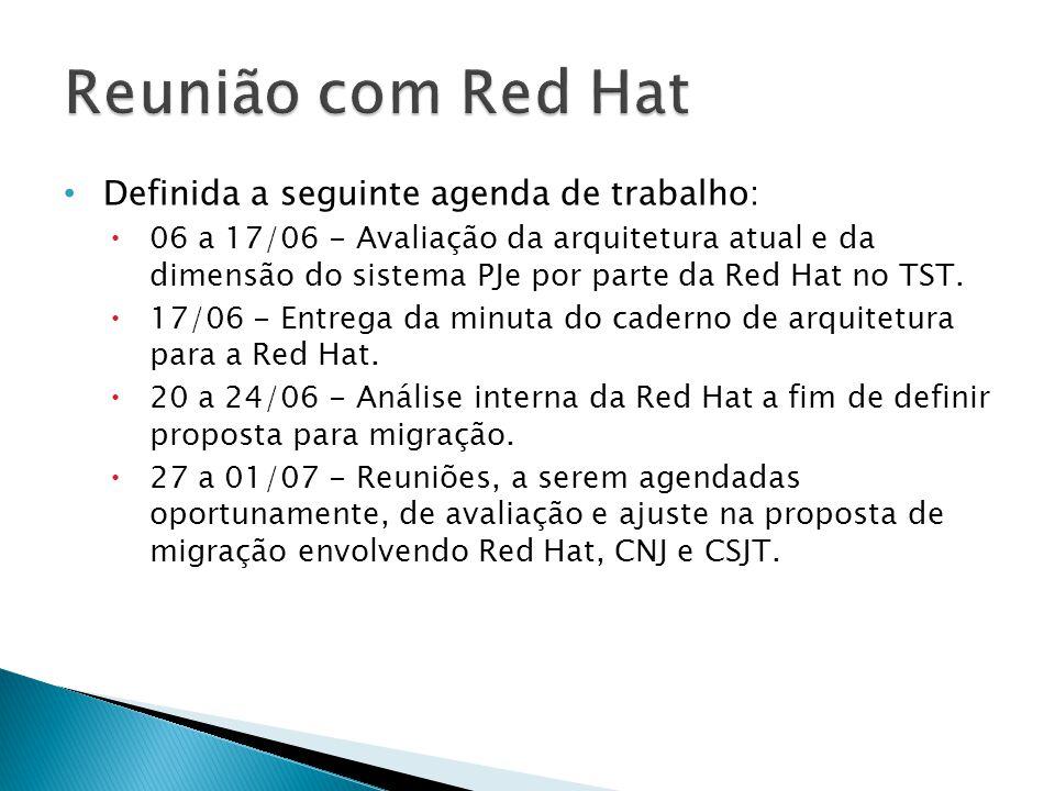 Reunião com Red Hat Definida a seguinte agenda de trabalho: