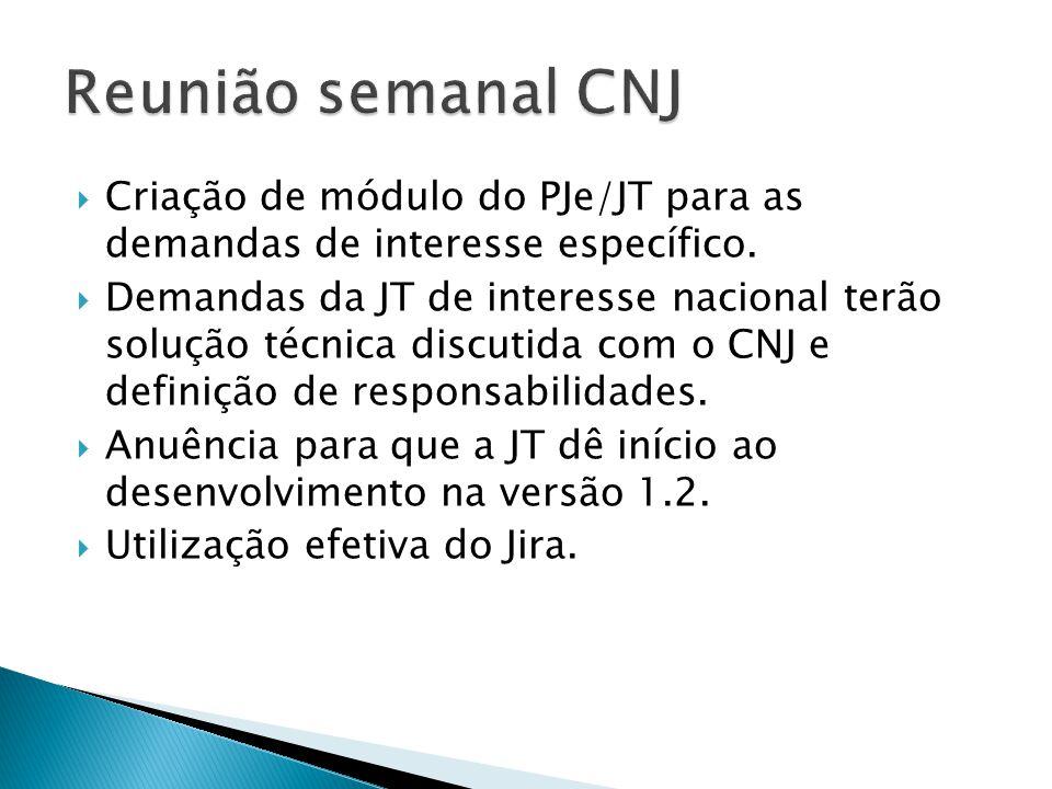 Reunião semanal CNJ Criação de módulo do PJe/JT para as demandas de interesse específico.