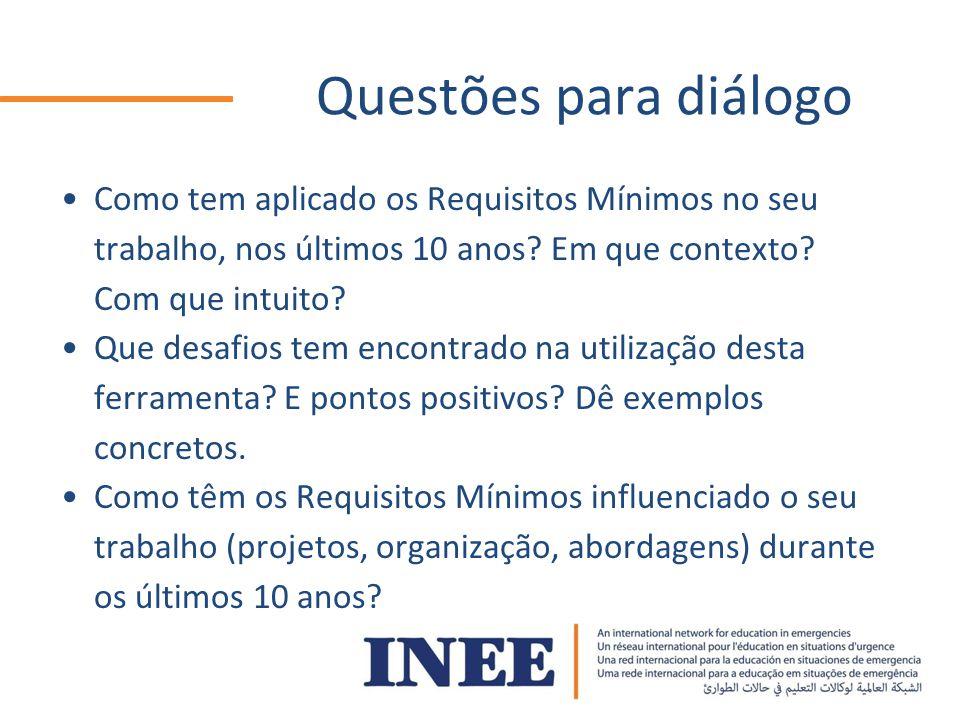 Questões para diálogo Como tem aplicado os Requisitos Mínimos no seu trabalho, nos últimos 10 anos Em que contexto Com que intuito