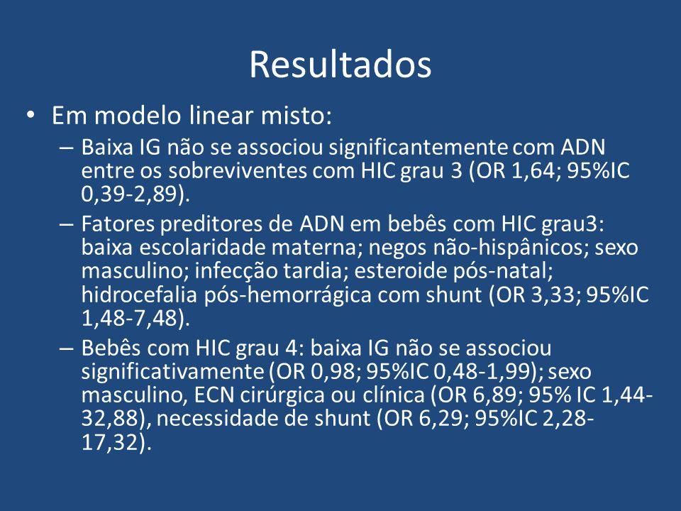 Resultados Em modelo linear misto: