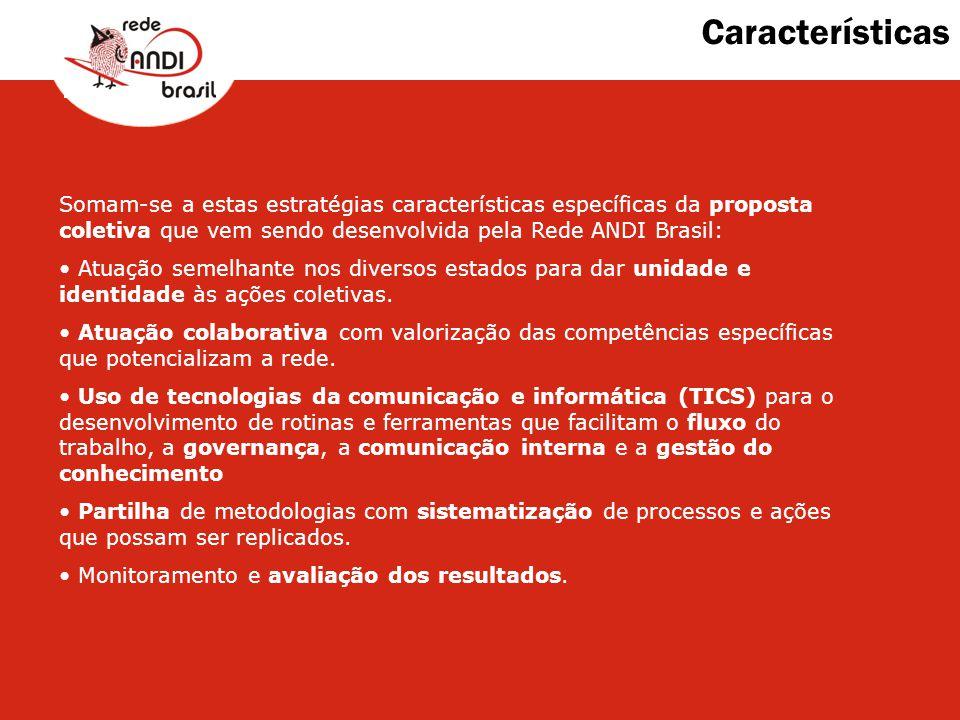Características Somam-se a estas estratégias características específicas da proposta coletiva que vem sendo desenvolvida pela Rede ANDI Brasil: