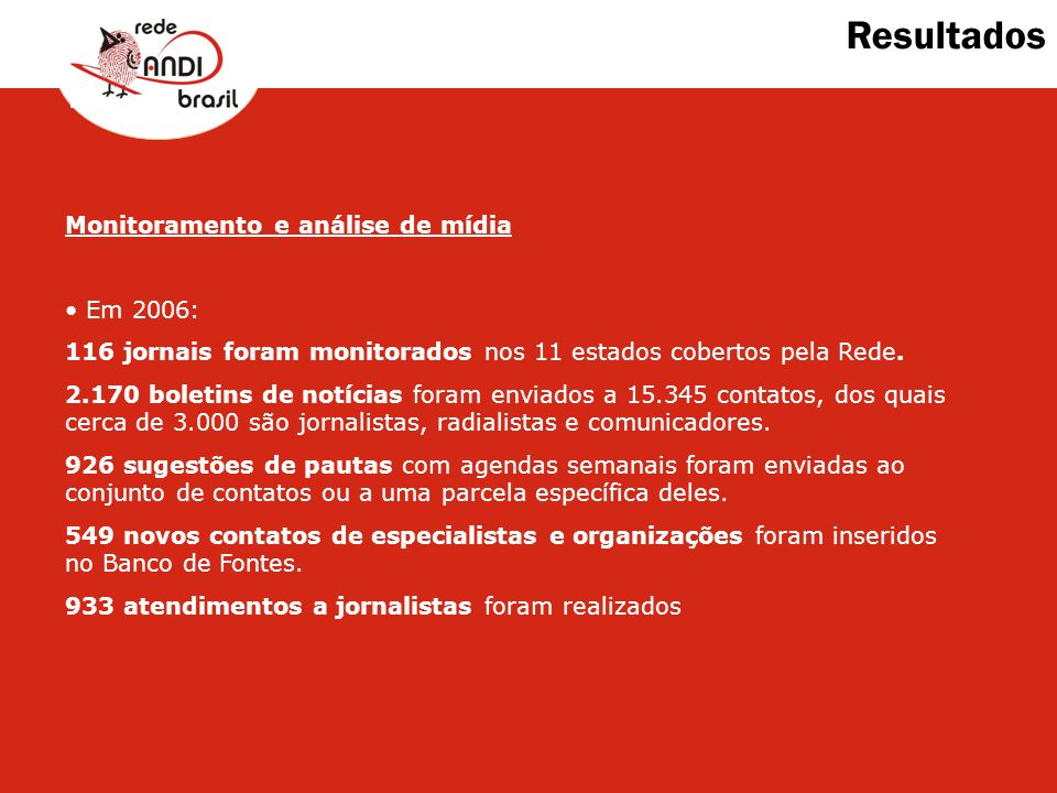 Resultados Monitoramento e análise de mídia Em 2006: