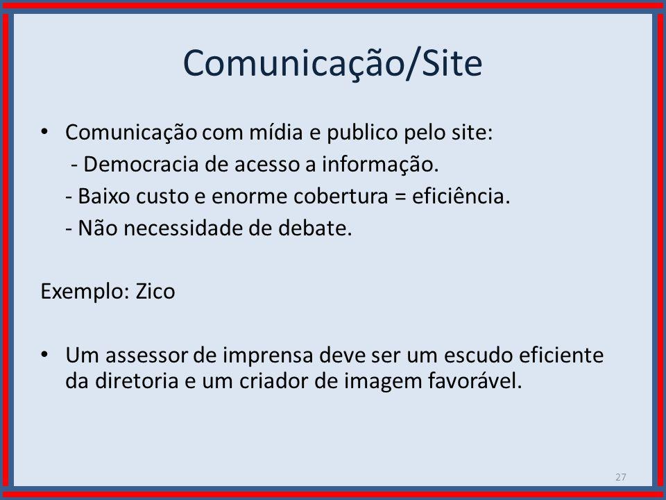 Comunicação/Site Comunicação com mídia e publico pelo site: