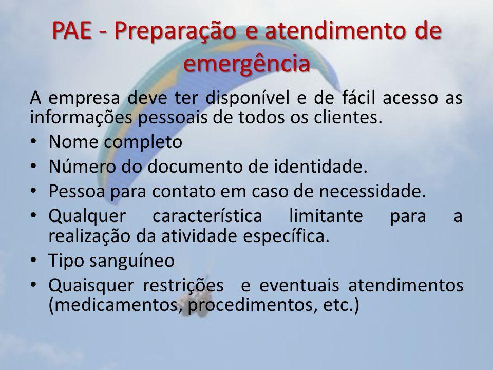 PAE - Preparação e atendimento de emergência