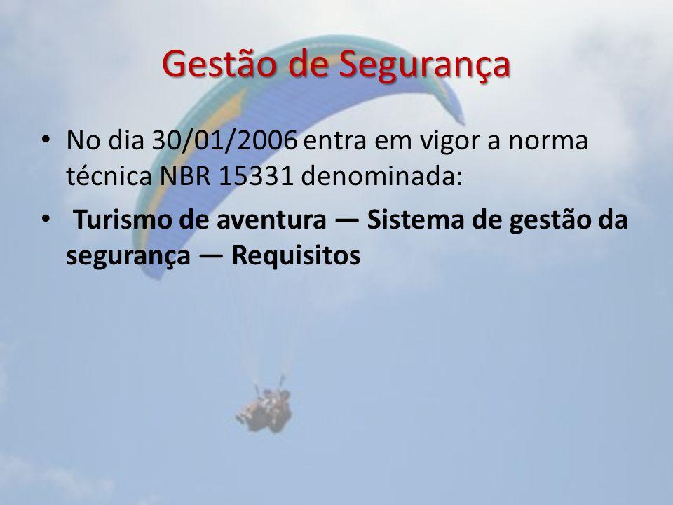 Gestão de Segurança No dia 30/01/2006 entra em vigor a norma técnica NBR 15331 denominada: