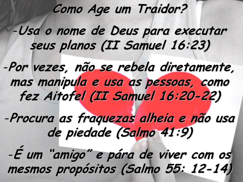 Usa o nome de Deus para executar seus planos (II Samuel 16:23)