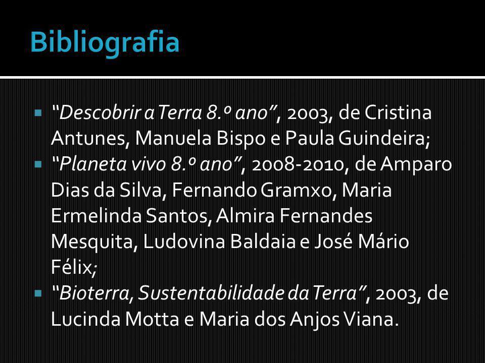 Bibliografia Descobrir a Terra 8.º ano , 2003, de Cristina Antunes, Manuela Bispo e Paula Guindeira;