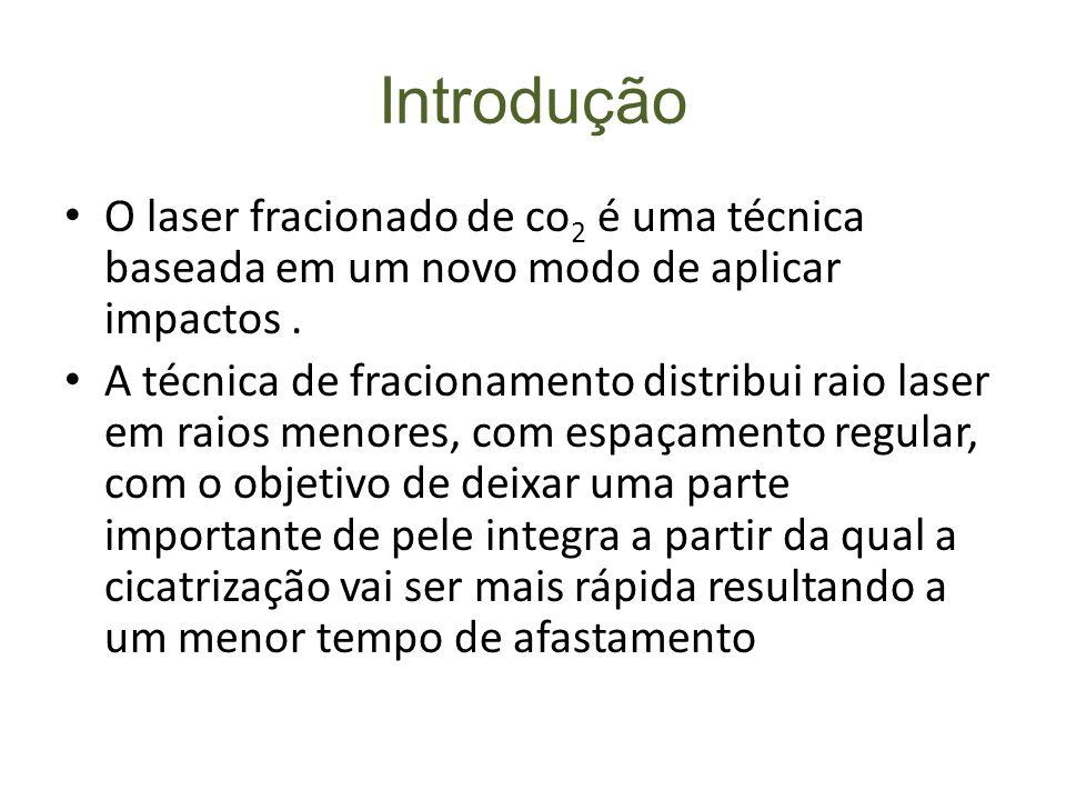 Introdução O laser fracionado de co2 é uma técnica baseada em um novo modo de aplicar impactos .