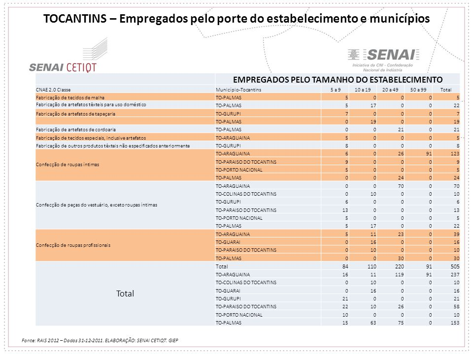 TOCANTINS – Empregados pelo porte do estabelecimento e municípios