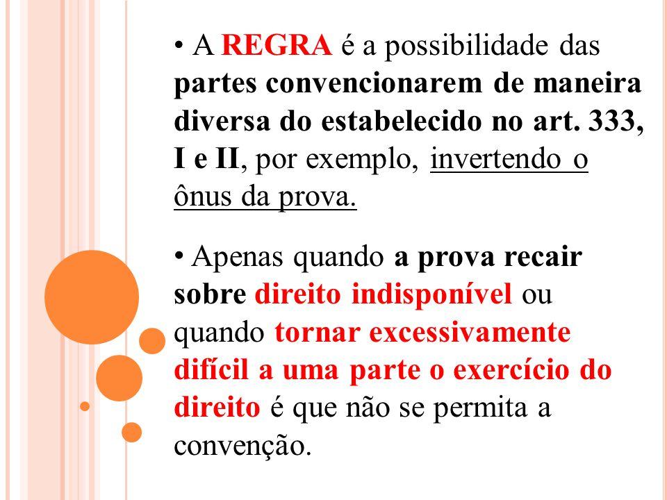 A REGRA é a possibilidade das partes convencionarem de maneira diversa do estabelecido no art. 333, I e II, por exemplo, invertendo o ônus da prova.