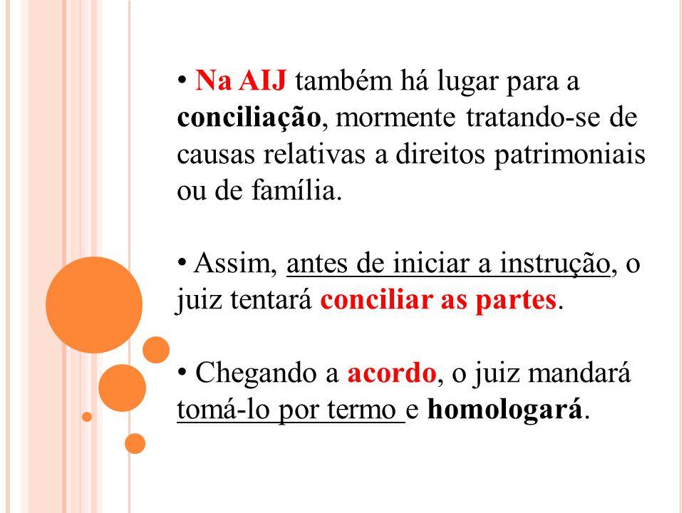 Na AIJ também há lugar para a conciliação, mormente tratando-se de causas relativas a direitos patrimoniais ou de família.