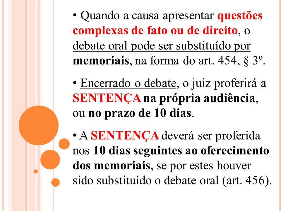 Quando a causa apresentar questões complexas de fato ou de direito, o debate oral pode ser substituído por memoriais, na forma do art. 454, § 3º.