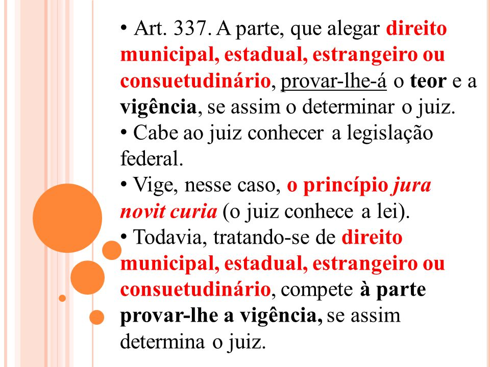 Art. 337. A parte, que alegar direito municipal, estadual, estrangeiro ou consuetudinário, provar-lhe-á o teor e a vigência, se assim o determinar o juiz.