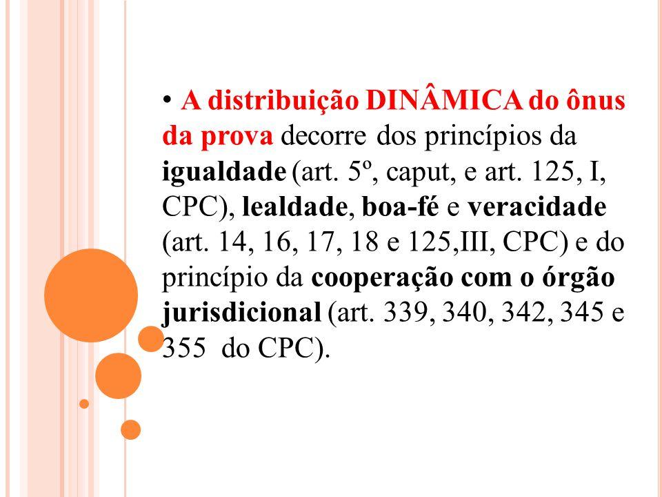 A distribuição DINÂMICA do ônus da prova decorre dos princípios da igualdade (art.