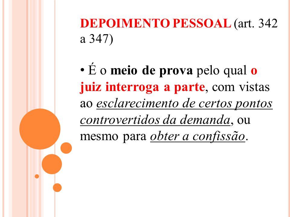DEPOIMENTO PESSOAL (art. 342 a 347)