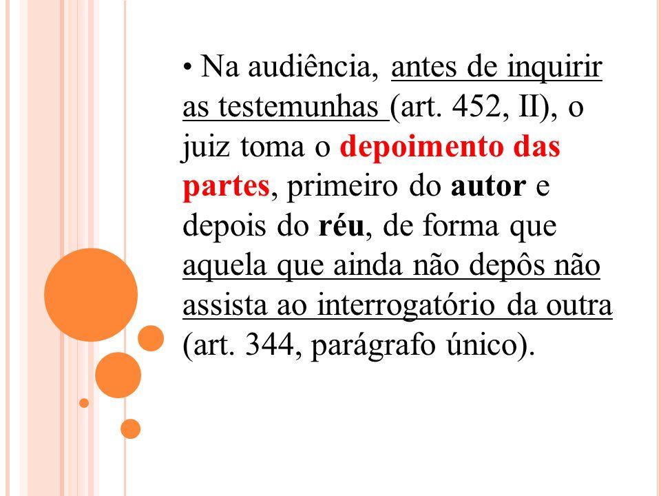 Na audiência, antes de inquirir as testemunhas (art