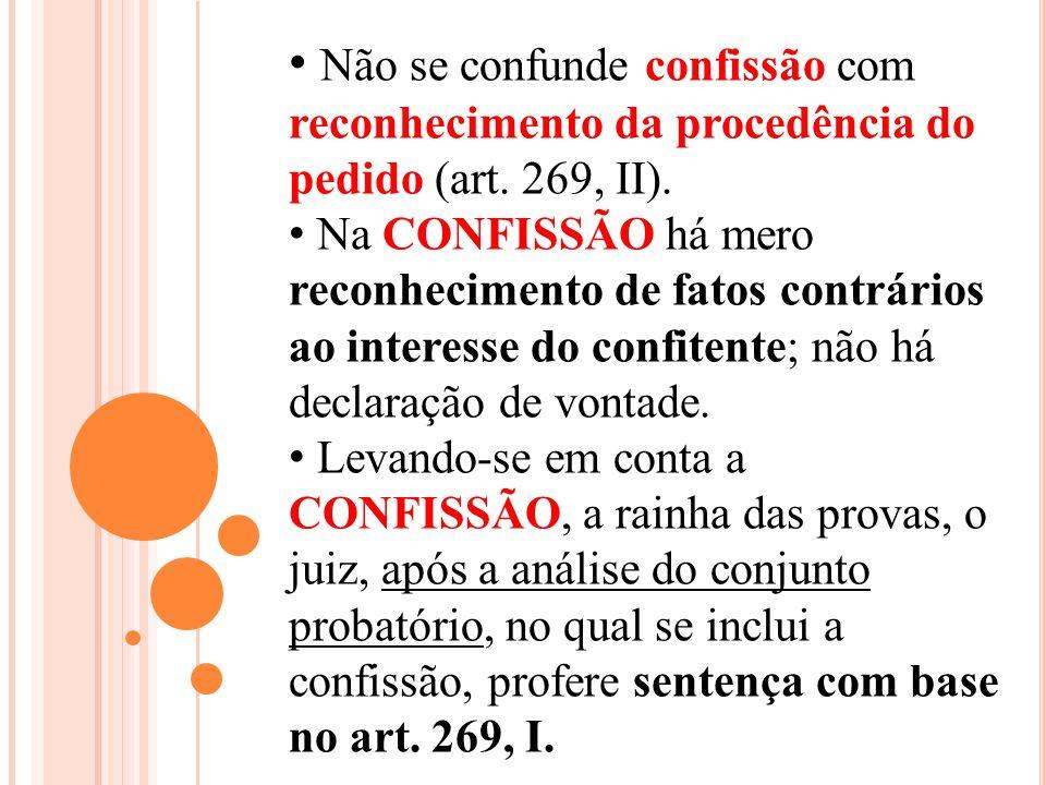 Não se confunde confissão com reconhecimento da procedência do pedido (art. 269, II).