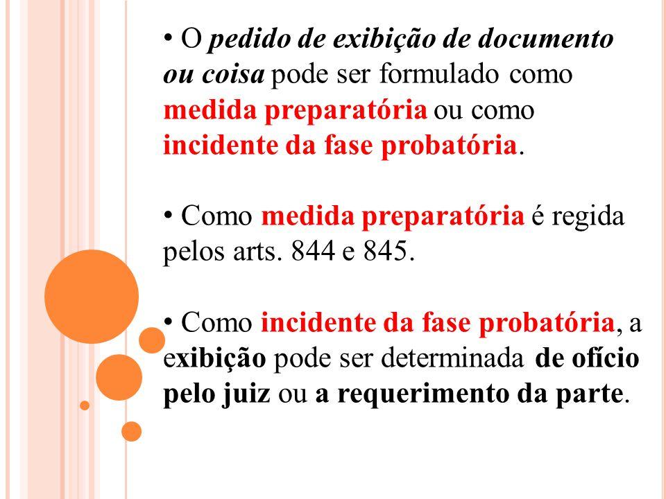 O pedido de exibição de documento ou coisa pode ser formulado como medida preparatória ou como incidente da fase probatória.