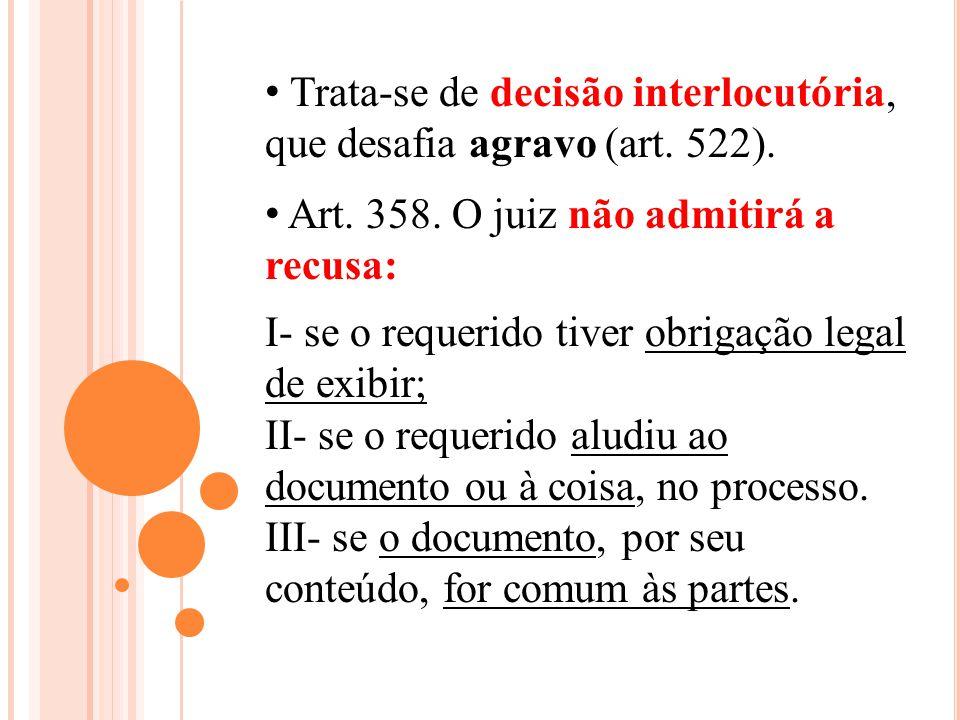Trata-se de decisão interlocutória, que desafia agravo (art. 522).