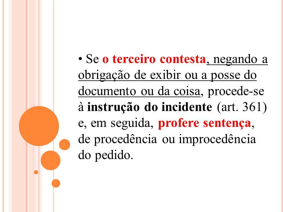 Se o terceiro contesta, negando a obrigação de exibir ou a posse do documento ou da coisa, procede-se à instrução do incidente (art.