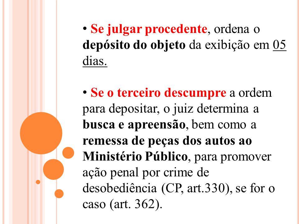 Se julgar procedente, ordena o depósito do objeto da exibição em 05 dias.
