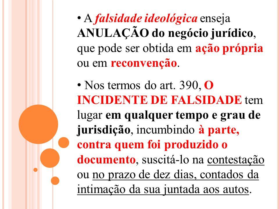 A falsidade ideológica enseja ANULAÇÃO do negócio jurídico, que pode ser obtida em ação própria ou em reconvenção.