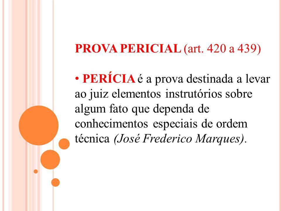 PROVA PERICIAL (art. 420 a 439)