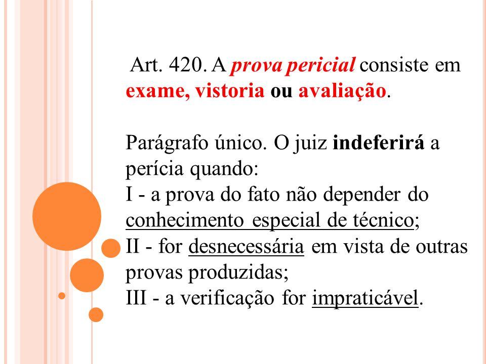 Art. 420. A prova pericial consiste em exame, vistoria ou avaliação.