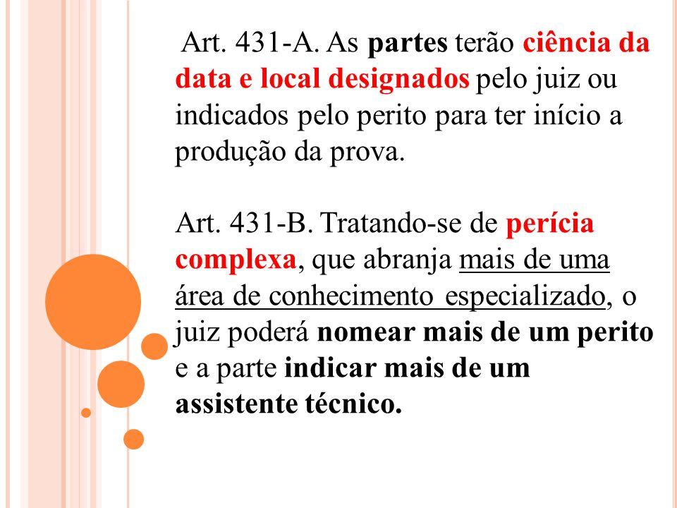 Art. 431-A. As partes terão ciência da data e local designados pelo juiz ou indicados pelo perito para ter início a produção da prova.
