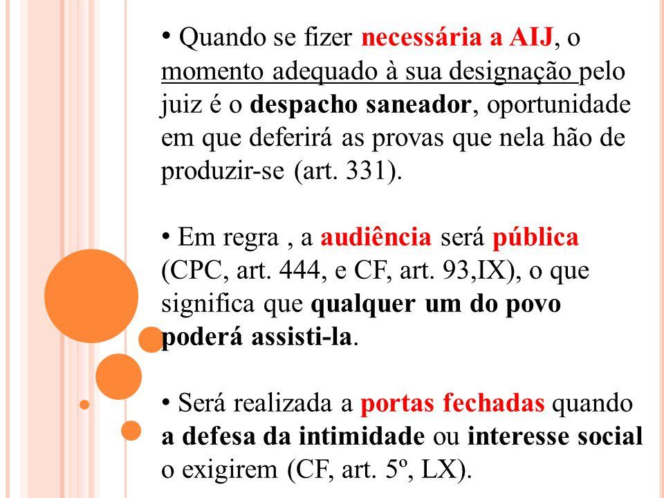 Quando se fizer necessária a AIJ, o momento adequado à sua designação pelo juiz é o despacho saneador, oportunidade em que deferirá as provas que nela hão de produzir-se (art. 331).