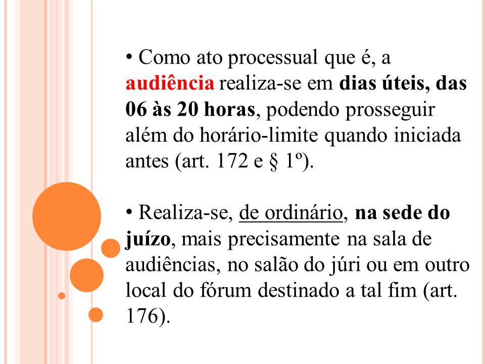 Como ato processual que é, a audiência realiza-se em dias úteis, das 06 às 20 horas, podendo prosseguir além do horário-limite quando iniciada antes (art. 172 e § 1º).