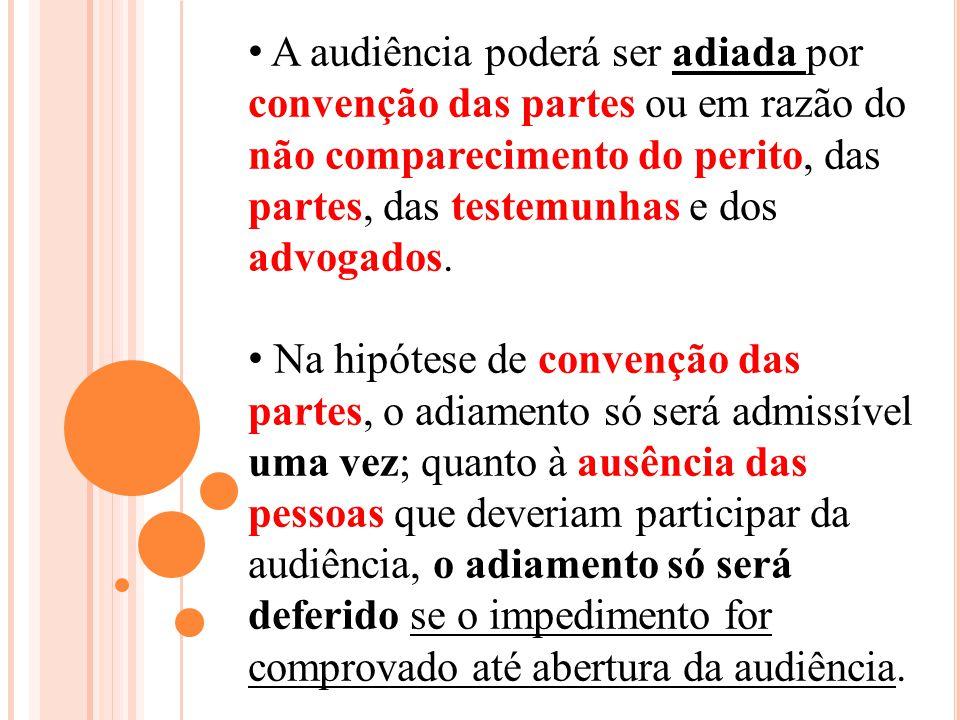 A audiência poderá ser adiada por convenção das partes ou em razão do não comparecimento do perito, das partes, das testemunhas e dos advogados.