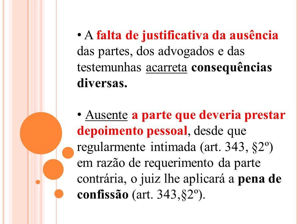 A falta de justificativa da ausência das partes, dos advogados e das testemunhas acarreta consequências diversas.