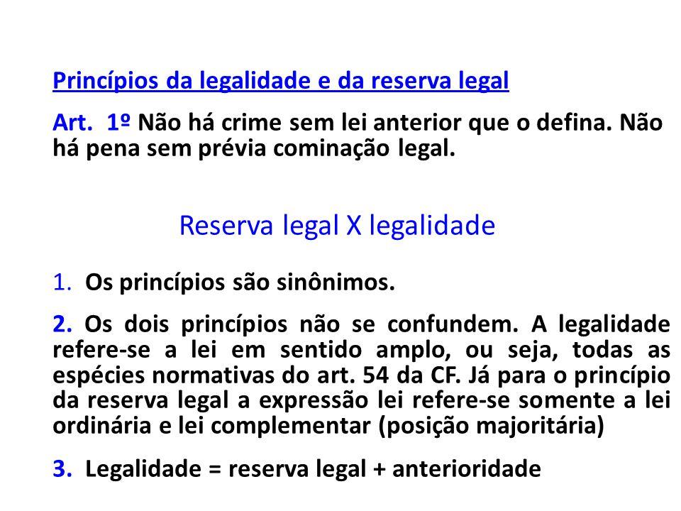 Princípios da legalidade e da reserva legal